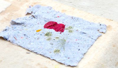 How to make your own printmaking paper homemade paper with flowers embeded mightylinksfo